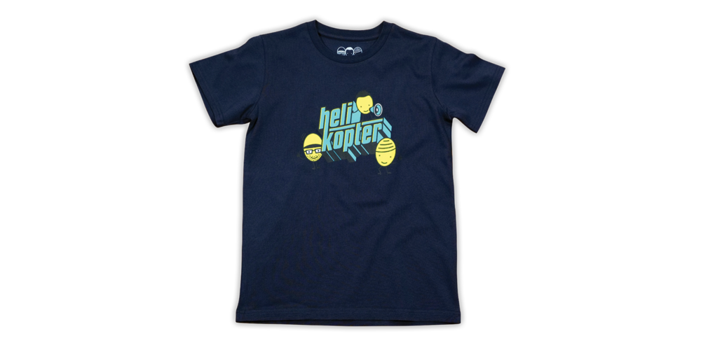 Kids-Shirt - Helikopter, in blau